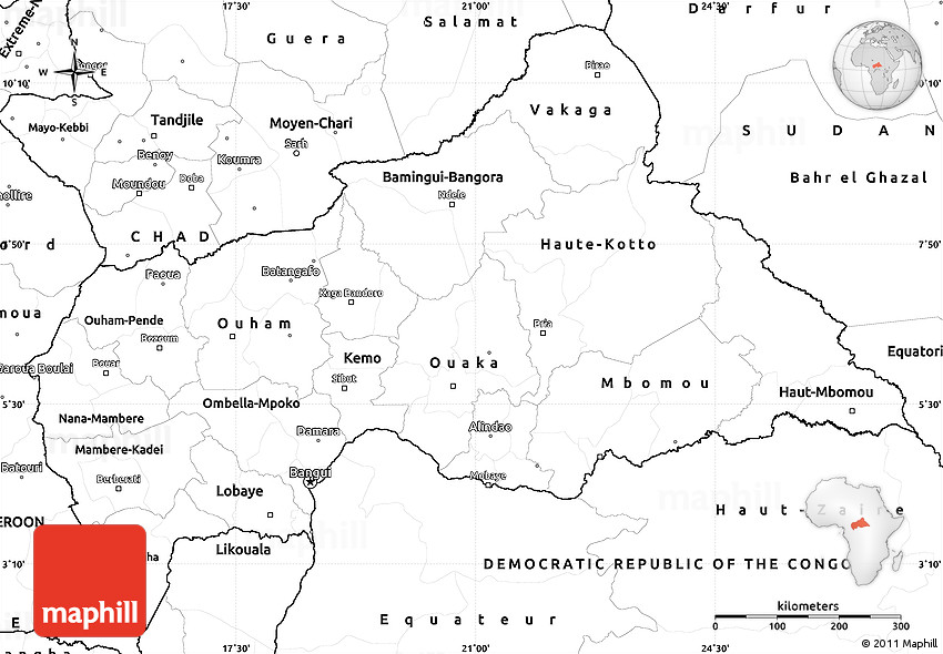 Blank Simple Map of Central African Republic