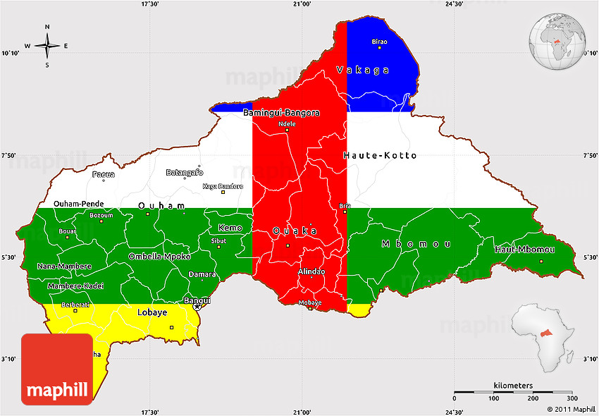 Flag Simple Map of Central African Republic