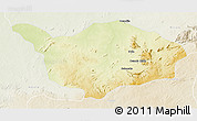Physical 3D Map of Ouandja-Djalle, lighten