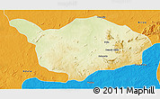 Physical 3D Map of Ouandja-Djalle, political outside