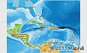 Physical 3D Map of Central America, political outside, shaded relief sea