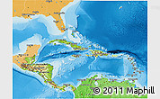 Physical 3D Map of Central America, political shades outside, shaded relief sea
