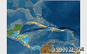 Political 3D Map of Central America, darken