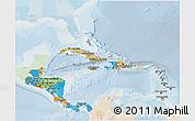 Political 3D Map of Central America, lighten