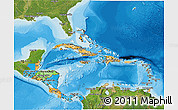 Political 3D Map of Central America, satellite outside, bathymetry sea