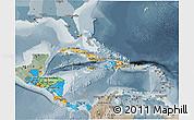 Political 3D Map of Central America, semi-desaturated
