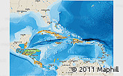Political 3D Map of Central America, shaded relief outside, bathymetry sea