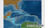 Political Shades 3D Map of Central America, darken