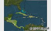 Satellite 3D Map of Central America, darken