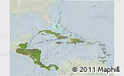 Satellite 3D Map of Central America, lighten