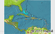 Satellite 3D Map of Central America, physical outside, satellite sea