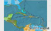 Satellite 3D Map of Central America, political outside, satellite sea
