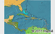 Satellite 3D Map of Central America, political shades outside, satellite sea