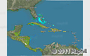 Satellite 3D Map of Central America, semi-desaturated, land only