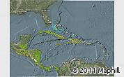 Satellite 3D Map of Central America, semi-desaturated