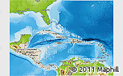 Shaded Relief 3D Map of Central America, physical outside