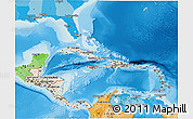 Shaded Relief 3D Map of Central America, political outside, shaded relief sea