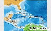 Shaded Relief 3D Map of Central America, political shades outside, shaded relief sea