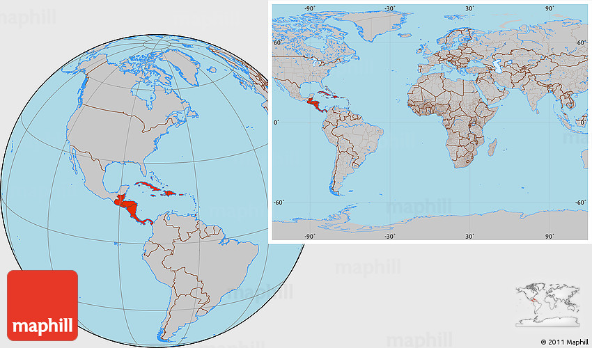Gray Location Map of Central America, within the entire world