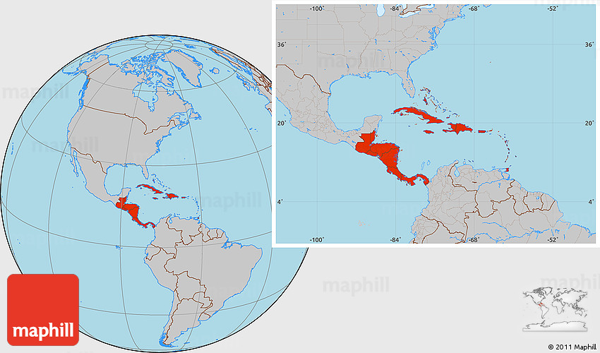 Gray Location Map Of Central America