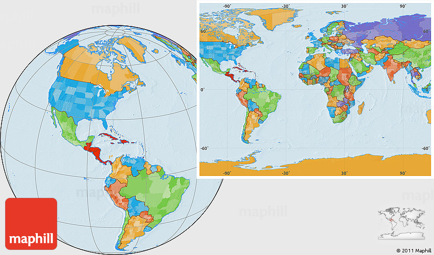 Political Location Map of Central America, within the entire world