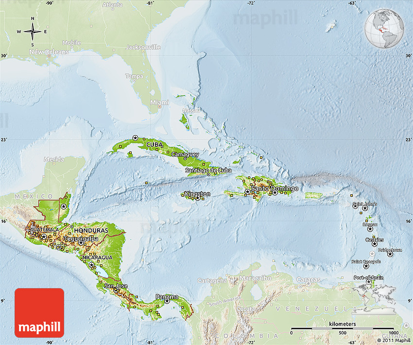Physical Map of Central America, lighten