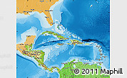 Physical Map of Central America, political shades outside, shaded relief sea