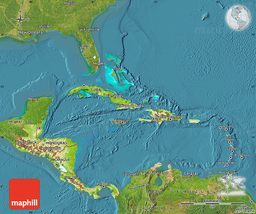 Physical Map of Central America, satellite outside