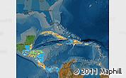 Political Map of Central America, darken