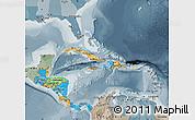 Political Map of Central America, semi-desaturated