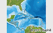 Political Shades Map of Central America, satellite outside, bathymetry sea