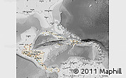 Shaded Relief Map of Central America, desaturated