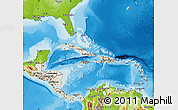 Shaded Relief Map of Central America, physical outside