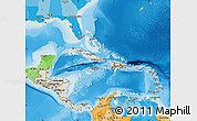 Shaded Relief Map of Central America, political outside, shaded relief sea