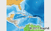 Shaded Relief Map of Central America, political shades outside, shaded relief sea