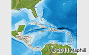 Shaded Relief Map of Central America, satellite outside, shaded relief sea