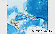 Shaded Relief Map of Central America, single color outside