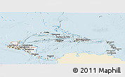 Classic Style Panoramic Map of Central America, single color outside