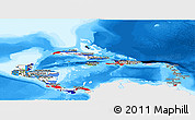 Flag Panoramic Map of Central America, single color outside, bathymetry sea
