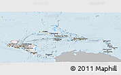 Gray Panoramic Map of Central America, single color outside