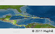 Physical Panoramic Map of Central America, darken