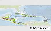 Physical Panoramic Map of Central America, lighten