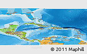 Physical Panoramic Map of Central America, political outside, shaded relief sea