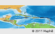 Physical Panoramic Map of Central America, political shades outside, shaded relief sea