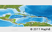 Physical Panoramic Map of Central America, satellite outside, shaded relief sea