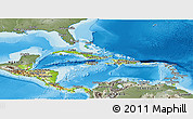 Physical Panoramic Map of Central America, semi-desaturated, land only