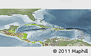 Physical Panoramic Map of Central America, semi-desaturated
