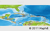 Political Panoramic Map of Central America, physical outside