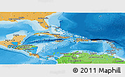 Political Panoramic Map of Central America, political shades outside