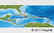 Political Panoramic Map of Central America, satellite outside, bathymetry sea